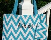 Personalized Gift Chevron Tote Bag Monogrammed Ladies Tote Bag