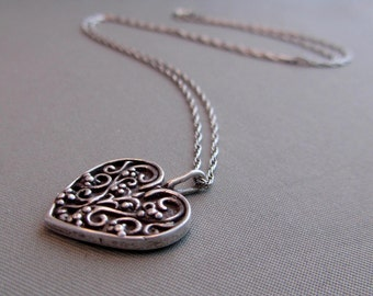 Vintage Sterling Scrollwork Heart Necklace