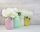4- Hand Painted Pint Mason Jar Flower Vases The Meredith Collection-Country Decor-Cottage Chic-Shabby Chic-French Chic