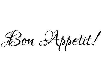 Bon Appetit Kitchen Vinyl Wall Decal #1 Graphics Home Decor