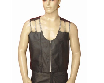 Real Leather Vest With Chain Work BVAN005