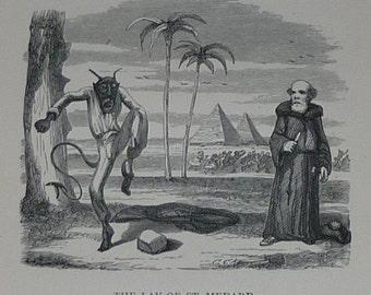 1879 Antique Devil Print From The Ingoldsby Legends - Saint Medardus - Egyptian Pyramids - Devil Decor - Sinister Art - Antique Demon Print
