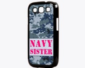 US Navy Sister Galaxy S3 Case - Digital NWU camo with pink text, US Navy gift, proud Navy sister, Navy phone case,, Samsung Galaxy S3