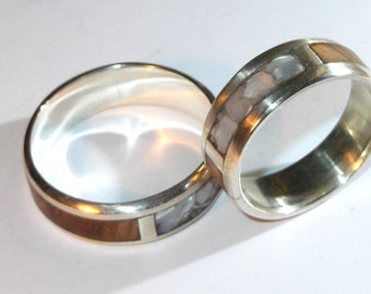 Silver 925 ring with olive wood and mother of pearl
