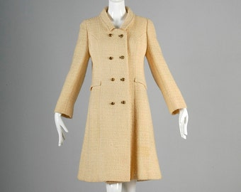 Vintage 60s Mod Military Cream Boucle Tweed Winter Coat Double Breasted GoGo