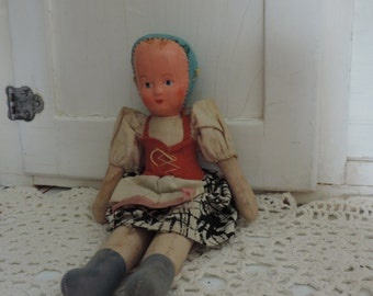 Vintage Antique Cloth Body Polish Doll from the 1950's