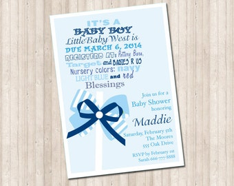 Baby Boy Shower Rattle Invitation