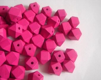 20 Geometric Pink Wooden beads