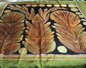 Hand printed large silk scarf rust leaves on olive unused vintage bold French designer Jacken Paris