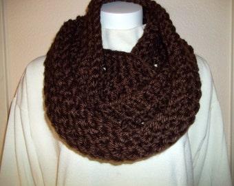 Chunky Infinity Scarf Cowl Eternity Circle Loop Fashion Crochet Brown