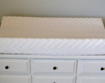 Embossed White Chevron Changing Pad Cover - White Chevron Contoured Minky Cover - Personalized Changing Pad Cover