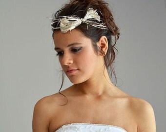Wedding Hair Tiara, Exclusive , Fascinator ,  Sparkly Bridal Headpiece, vintage Embroidery, wedding accessory, Vintage dream