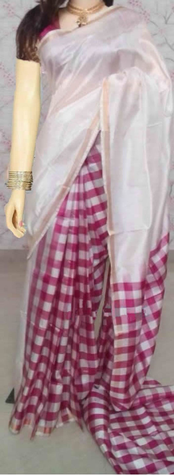 Uppada white with pink checks