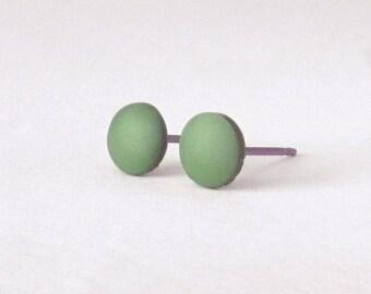 Olive Green studs, matte green earrings, unisex earrings, matte green studs, army green studs, mens earrings, mens studs
