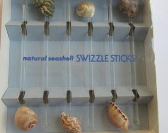 Natural Seashell Swizzle Sticks Set of 6