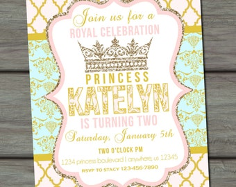 Princess Birthday Invitation, Princess Invitation, Pink Birthday Invitation, Pink and Gold Birthday Invitation, Princess Party