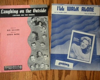 Sheet Music for I'll Walk Alone AND Laughing on the Outside featured by Dinah Shore in the 1940's
