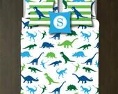 Custom Dinosaur Bedding Bedding Set-Custom Duvet Cover-Shams-Blue-Light and Dark Green-Turquoise-Choose Colors-Full/Queen-King-Bedroom-Room