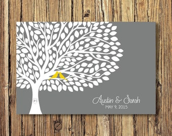 Wedding Guestbook Alternative Art Print-Tree-Leaves-Guest Book-Poster OR Canvas-16x20-18x24-20x30-24x36-White-Yellow-Grey-Custom Colors