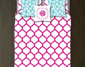 Custom Preppy Quatrefoil Bedding Set-Duvet Cover-Shams-Hot Pink-White-Twin XL/Full/Queen/King-Bedding-Bedroom-Bed-Kids Room-Girl-Dorm Room