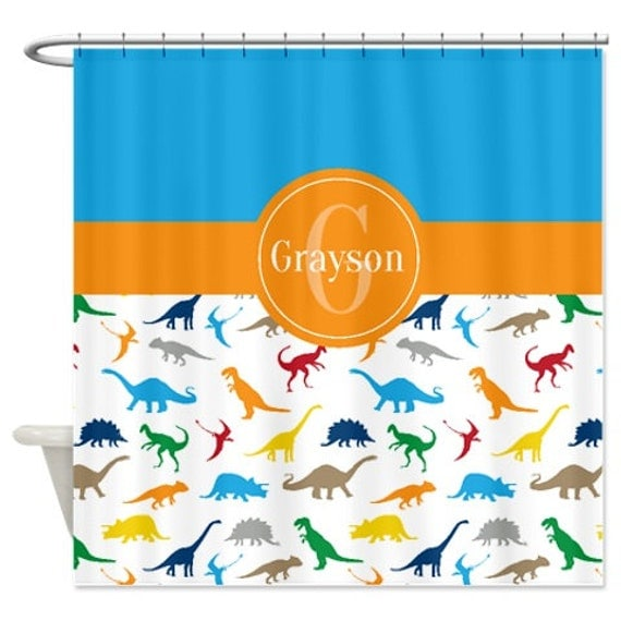 red and tan shower curtain. Like this item  Custom Dinosaur Shower Curtain Monogrammed
