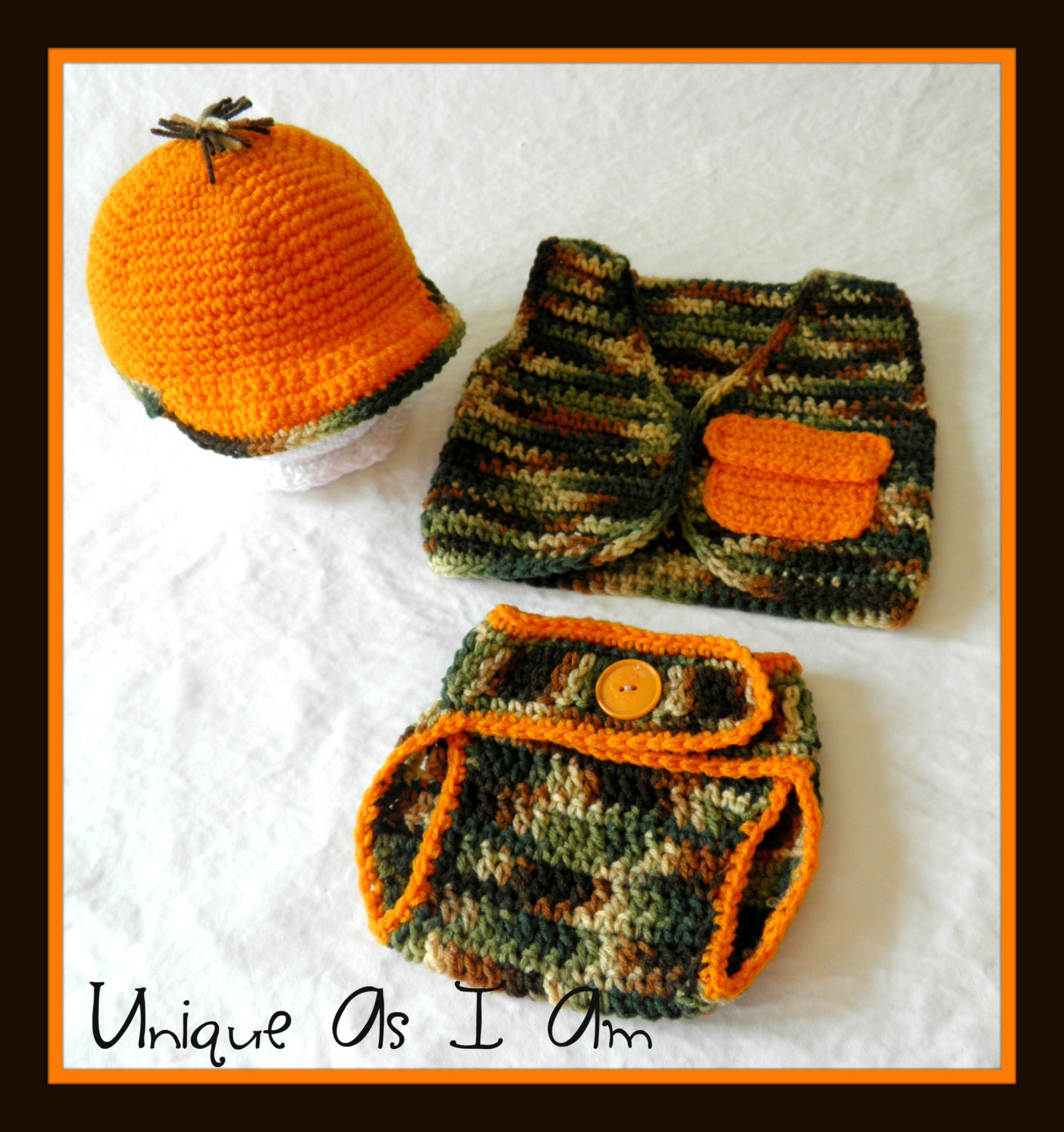 Crocheted Baby Hunting Hat Vest and Diaper Cover/Photo Prop