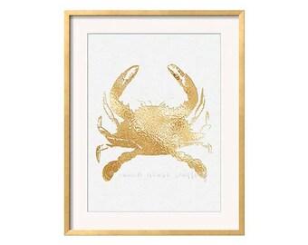 Gold Crab Art Print, Golden Crab, Portrait Orientation, Gold Nautical Art, Gold Beach Wall Art, Glam Wall Art, Hollywood Regency, Preppy Art