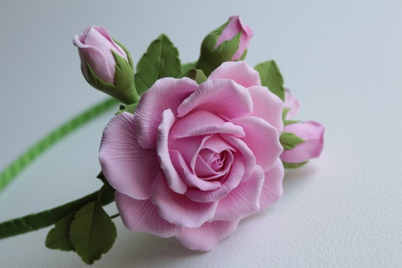 Make to order.  Hair alice band polymer clay flower.  Pink rose with buds.