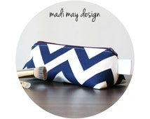 BOGO Sale Navy Triangle Pouch - Cosmetic Pouch - Standup Makeup Bag - Makeup Bag - Triangle Makeup Bag - Triangular Pouch - Pencil Case