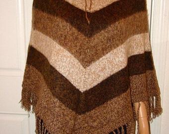 Peruvian 100% Alpaca Wool Poncho Cape Top Very Soft