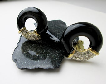 Lanvin Paris, 1960s Clip Earrings, Black Enamel Hoops, Swarovski Crystal Clips, Vintage Pave Clips, French Earrings, Signed Costume Clips.