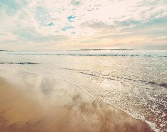 "Beach Photography - seashore, ocean photograph, summer, California, beach decor, beach wall art, beige and blue photo - ""Sunset in the Sand"""