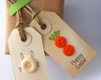 Happy Easter tags- bunnies & carrots - greeting gift tag -party favor tags (set of 6)