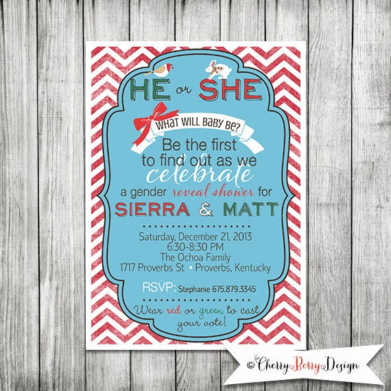 Christmas Gender Reveal Ideas.Christmas Card Gender Reveal Decorating Ideas