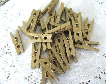 "25 Mini Gold Wooden Clothespins 1"""