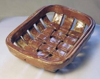 Tan with Sea-foam green highlights medium rectangular weaved bowl