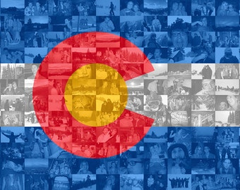 Colorado State Flag Photo Mosaic Print - Custom Personalized Photo Collage Wall Art