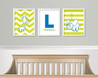 Baby Boy Nursery Wall Art - Baby Monogram - Giraffe Elephant Nursery Art Green & Blue Nursery Chevron SET of 3 - Custom Nursery Prints
