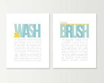 Funny Bathroom Decor - Rubber Duck Bathroom Art Prints - Wash your Hands & Brush your Teeth Typography Rubber Ducky Bathroom / Bath Wall Art