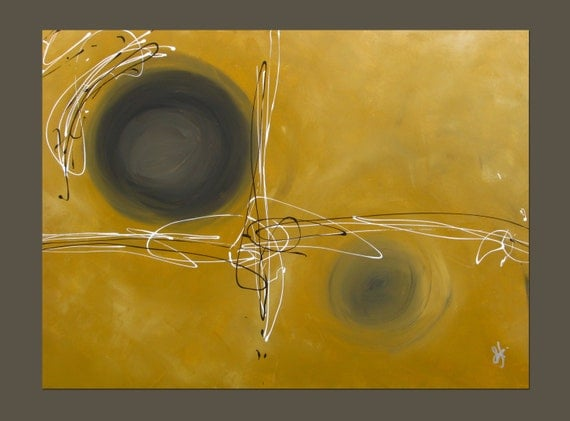 "Large Original Abstract Acrylic Painting ""Sound"" 41""x30.25"" canvas, wall decor, abstract decor, original art, oxidized yellow, black, white"