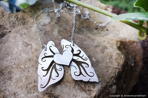 Heart and Filigree style Lungs sterling silver necklace