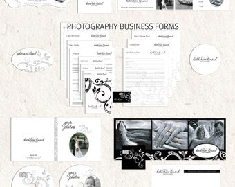 Photography marketing set and business forms kit floral swirls camera black and white - all editable psd files