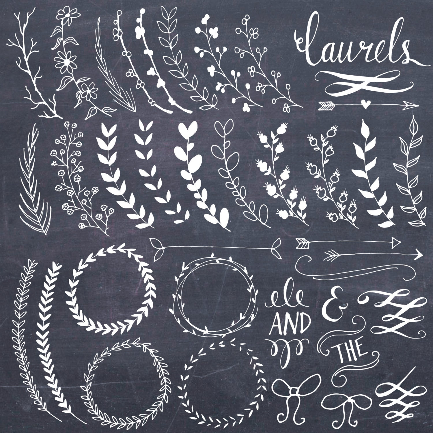 Clip art chalkboard laurels wreaths clipart photoshop Chalkboard typography