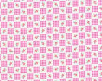 "Half Yard of Lecien's ""Flower Sugar""- Pink Check, Japanese Fabric, Shabby Chic, Rose Fabric"