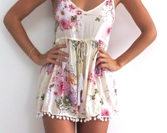 Pink Blossom Pom Pom Jumpsuit / Playsuit, Short Beach Dress, Floral Print Skort Shorts
