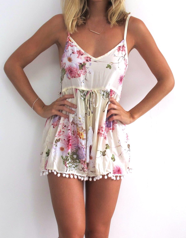 pink blossom pom pom jumpsuit playsuit short beach dress. Black Bedroom Furniture Sets. Home Design Ideas