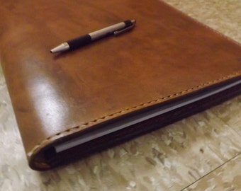 "Large leather Portfolio /Notebook holder, Antiqued, Handmade Hand stitched, Fits 8 1/2"" x 11""  legal pad/spiral notebook, Full grain leather"