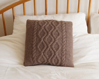 Knitted Cushion, Cable Knit Pillow Cover,Pillow Sham,Throw Pillow, Mid Brown 40cm - TETBURY