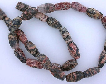15x7 twist gemstone leopardskin jasper beads