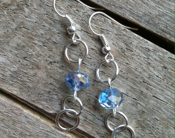 Silver Dangle Earrings with Light Blue Crystal Beads ER-072014-08